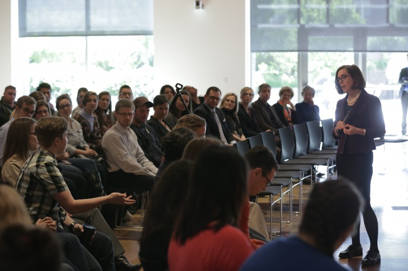 Governor Brown speaks with students
