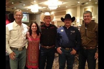 Oregon State Treasurer Ted Wheeler, OUS Chancellor Melody Rose, Portland Mayor Charlie Hales, Pendleton Mayor Phillip Houck, and UO President Michael Gottfredson at the 2013 Pendleton Round-Up