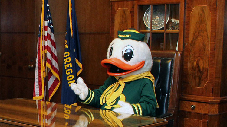 Duck at the Governor's Desk